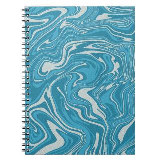 Blue abstract liquid pattern notebook
