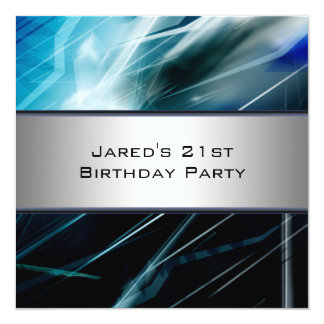 Blue Abstract Mans 21st Birthday Party 13 Cm X 13 Cm Square Invitation Card