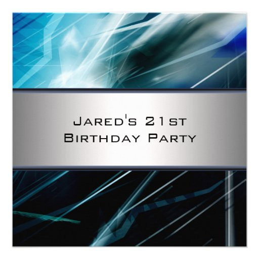 Blue Abstract Mans 21st Birthday Party Personalized Invites