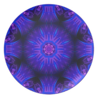 Blue Abstract Melamine Plate