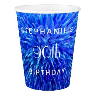 Blue Abstract Paper Cups, 90th Birthday Party Paper Cup