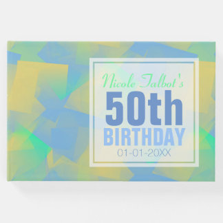 Blue Abstract pastel 50th Birthday Guest Book
