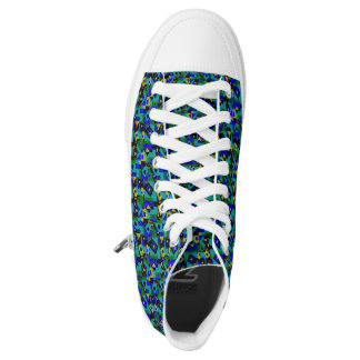 Blue  abstract pattern high tops