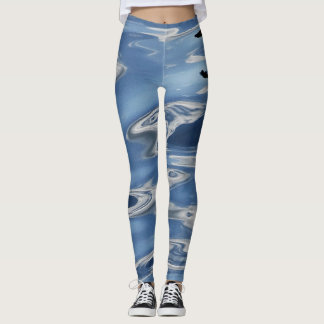 Blue abstract pattern leggings