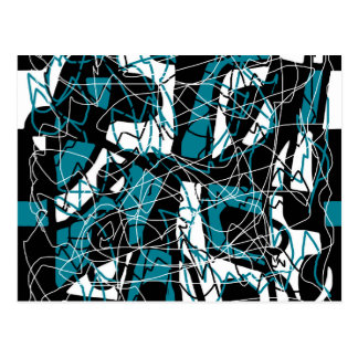 Blue abstract pattern postcard