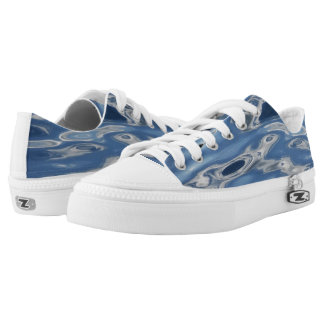 Blue abstract pattern printed shoes