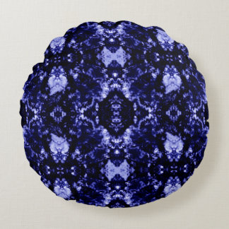 Blue Abstract Pattern Round Pillow