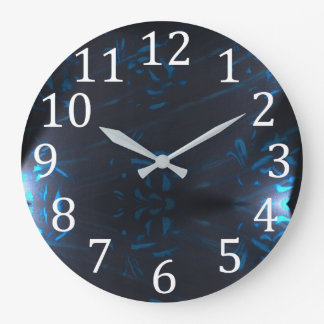Blue Abstract Pattern Shapes White Numbers Clocks