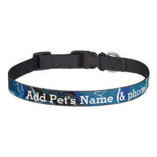 Blue Abstract Personalized Pet Collar