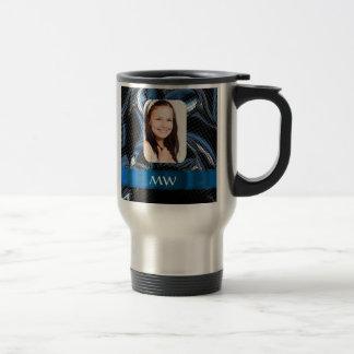 Blue abstract photo template travel mug