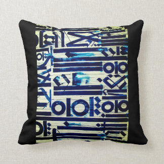 Blue Abstract Pillow, Blue Lines and Circles Cushion
