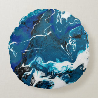 Blue Abstract  Round Pillow with White back