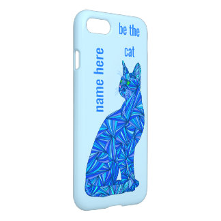 Blue Abstract Sitting Cat iphone7 Be The Cat Fun iPhone 7 Case