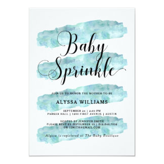 Blue Abstract Stripes | Watercolor Baby Sprinkle Card