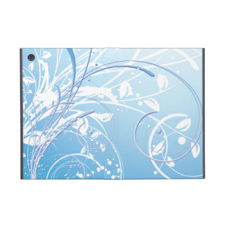 Blue Abstract Swirl Floral Girly Vector Design iPad Mini Cover