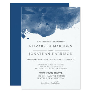 Blue Abstract Watercolor Modern Wedding Card