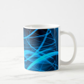blue abstract wave shiny energy background coffee mugs