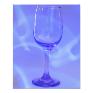 Blue Abstract Wine Glass Photographic Print