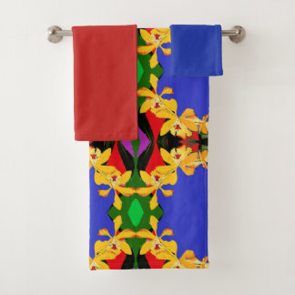 Blue Abstract with Yellow Orchid  Bath Towel Set