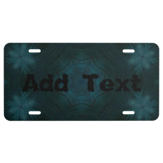 Blue abstract wood license plate