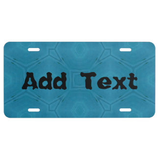 Blue abstract wood Pattern License Plate