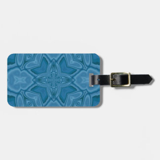 Blue abstract wood pattern luggage tag