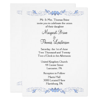 Blue Accent Wedding Invitations