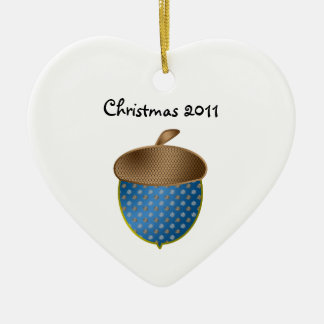 Blue acorn christmas ornament