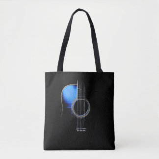 "Blue Acoustic Guitar ""Highlight"" Tote Bag"