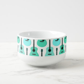Blue Acoustic Guitars Pattern Soup Mug