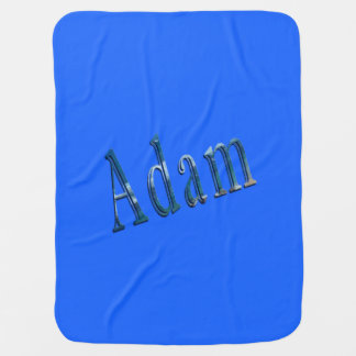 Blue Adam Name Logo, Baby Blanket