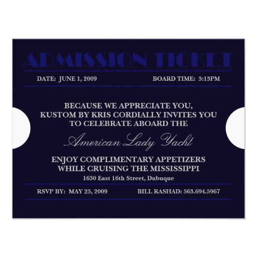 Blue Admission Ticket 4.25x5.5 Invitations
