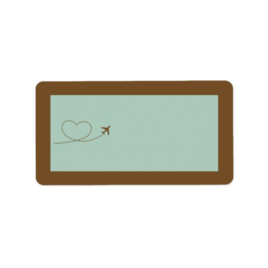 Blue Aeroplane Heart Wedding Mailing Address Label