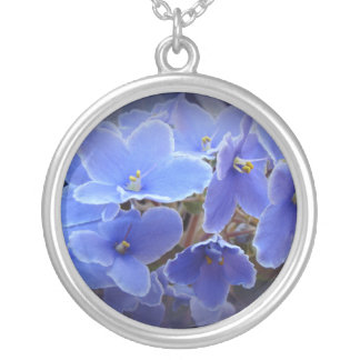 Blue African Violets Round Pendant Necklace