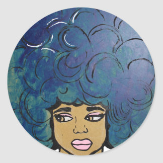 Blue Afro Ebony Girl Big Hair Classic Round Sticker