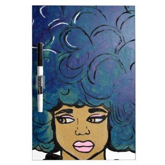 Blue Afro Ebony Girl Big Hair Dry Erase Boards