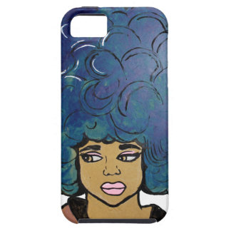 Blue Afro Ebony Girl Big Hair iPhone 5 Cover