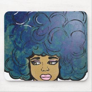 Blue Afro Ebony Girl Big Hair Mouse Pad
