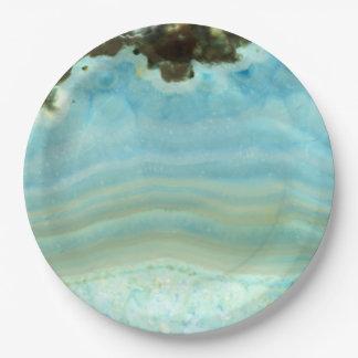 Blue Agate Gemstone Crystal Princess Pattern 9 Inch Paper Plate