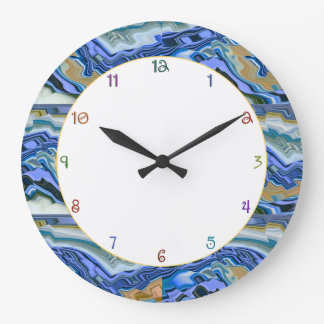 Blue Agate Slab Large Clock