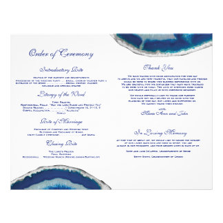 Blue Agate Wedding Program Flyer