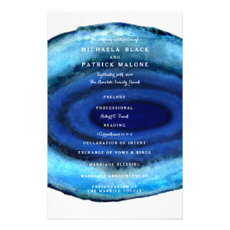Blue Agate Wedding Programs Flyer