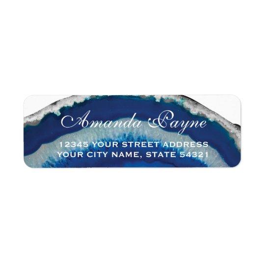 Blue Agate Wedding Return Address Label