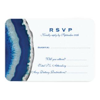 Blue Agate Wedding RSVP Card
