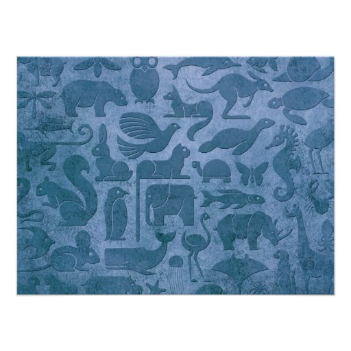 Blue Aged and Worn Animal Kingdom Pattern Poster