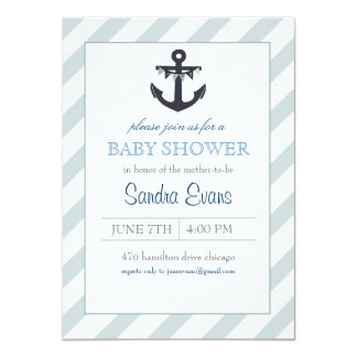 Blue Ahoy Anchor Baby Shower Invitation