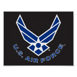 Blue Air Force Logo & Name Poster