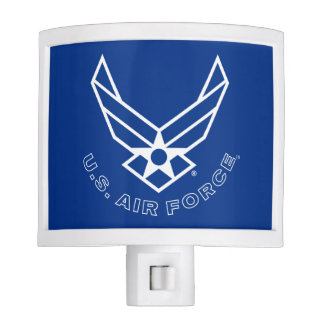 Blue Air Force Logo & Name with Outline Night Lite