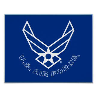 Blue Air Force Logo & Name with Outline Poster