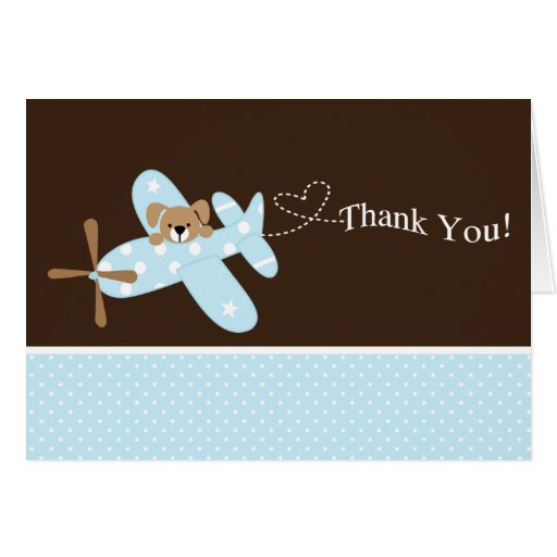 Blue Airplane Baby Shower Thank You Note Card